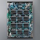 Шарж doodles морской шаблон календаря 2018 год Русский, старт понедельника Стоковое Изображение RF