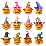 Шарж emoji улыбки сторон тыквы фонарика jack o хеллоуина украшения шляпы ведьмы страшными установленный значками изолированный ко иллюстрация вектора