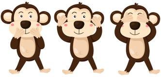 Шарж monkeys глаза, уши и рот заволакивания бесплатная иллюстрация