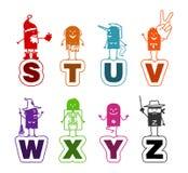 шарж s к z алфавита Стоковые Изображения