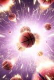 Шарики баскетбола с огнем искрятся в действии стоковые фотографии rf