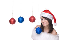 шарики закрывают девушку santa платья украшения вверх Стоковое Фото