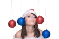 шарики закрывают портрет украшения вверх по женщине Стоковое Изображение RF