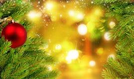 Шарики и ель рождества разветвляют на предпосылке с сияющими светами Стоковое Фото