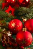 Шарики и звезды рождества Стоковое Изображение