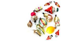 Шарики и игрушки рождества на белой предпосылке Стоковая Фотография