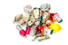 Шарики и игрушки рождества на белой предпосылке Стоковая Фотография RF