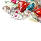 Шарики и игрушки рождества на белой предпосылке Стоковое Изображение