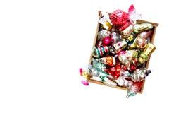 Шарики и игрушки рождества на белой предпосылке Стоковые Изображения