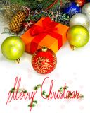 Шарики и коробка рождества Стоковые Фотографии RF