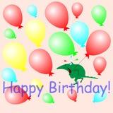 Шарики и крокодил поздравительной открытки с днем рождения Стоковое фото RF