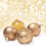 Шарики и предпосылка рождества с bokeh Стоковое Изображение RF