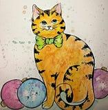 Шарики кота и рождества акварели Бесплатная Иллюстрация
