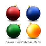Шарики красочного рождества лоснистые Iilustration вектора Стоковая Фотография RF