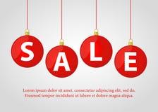Шарики рождества вектора красные с продажей для плаката объявления, знамени иллюстрация вектора