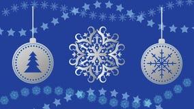 Шарики рождества вектора на предпосылке снежинок 10 eps иллюстрация вектора