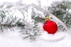 Шарики рождества красивые красные с ветвью и снегом ели на белой предпосылке Стоковое фото RF