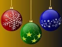 Шарики рождества красные зеленой и голубой с картинами Стоковые Изображения