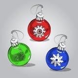Шарики рождества, предпосылка эскиза вектора бесплатная иллюстрация