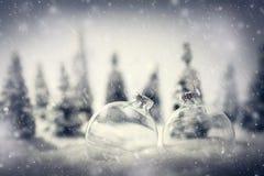 Шарики рождества стеклянные в пейзаже леса зимы миниатюрном с снегом стоковое изображение