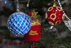 Шарики рождества с веселым Christas Стоковая Фотография