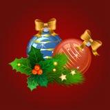 Шарики рождества с ветвями ели и ягодами падуба бесплатная иллюстрация