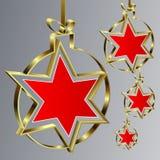 Шарики рождества с красной звездой Стоковые Фотографии RF