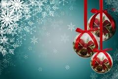 Шарики рождества с снежинкой Стоковое Изображение