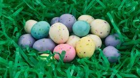 Шарики солода пасхального яйца в зеленой пластичной траве Стоковое Изображение RF