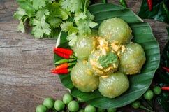 Шарики тапиоки при свинина заполняя на блюде десерт тайский Стоковые Фотографии RF