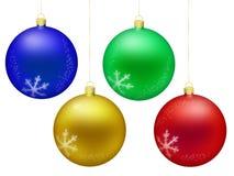 Шарики украшения рождества изолированные на белой предпосылке иллюстрация штока