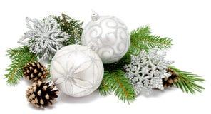 Шарики украшения рождества с конусами ели Стоковая Фотография RF