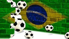 Шарики футбола, флаг Бразилии стоковые изображения rf
