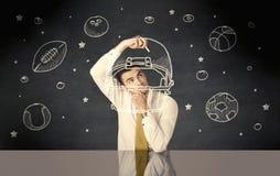 Шарики шлема и спорта чертежа бизнесмена Стоковые Изображения RF