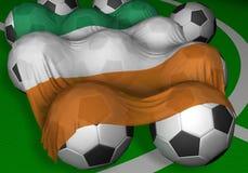 шарики 3d плавают вдоль побережья футбол цвета слоновой кости перевода флага Стоковые Фотографии RF