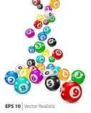Шарики Bingo вектора красочные падают случайно иллюстрация штока