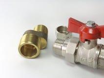 Шариковый клапан, ексцентрик faucet и соединение продетых нитку штуцеров Стоковая Фотография
