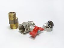 Шариковый клапан, ексцентрик faucet и соединение продетых нитку штуцеров Стоковое фото RF