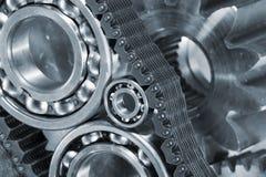 Шарикоподшипники и шестерни внутри конц-поднимают стоковое изображение