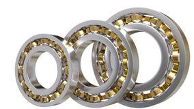 3 шарикоподшипника изолированного на белой предпосылке 3D Стоковые Изображения