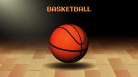 шарик баскетбола 3d в темной предпосылке суда в 4k иллюстрация штока