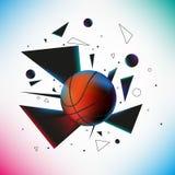 Шарик баскетбола ударил землю с взрывом  Стоковые Фотографии RF