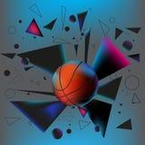Шарик баскетбола ударил землю с взрывом  Стоковое Изображение RF