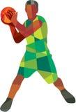 Шарик баскетболиста в полигоне действия низком бесплатная иллюстрация