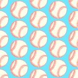 Шарик бейсбола эскиза, vector безшовная картина Стоковые Изображения RF