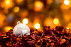 Шарик белого рождества на сухих листьях Стоковое Изображение