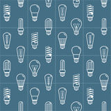 Шарик белой лампы silhouettes безшовная предпосылка также вектор иллюстрации притяжки corel Стоковое Изображение RF