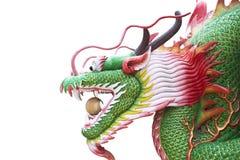 Шарик головы дракона статуи изолированный на белой святыне архитектуры предпосылки фарфора Стоковая Фотография