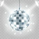 Шарик диско со световыми лучами на прозрачной предпосылке Влияние фар голубой вектор неба радуги изображения облака иллюстрация штока