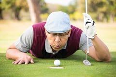Шарик игрока в гольф дуя в отверстии Стоковое Изображение